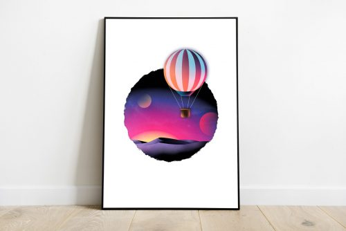 Poster Montgolfière coeur à coeur